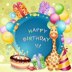 Birthday Card  #GraphicRiver         Birthday card with birthday cake, balloons and gifts. File saved in EPS 10 format contains outlined text and transparency effect.     Created: 12May13 GraphicsFilesIncluded: VectorEPS Layered: No MinimumAdobeCSVersion: CS3 Tags: balloon #birthday #blue #cake #candle #candy #card #cartoon #celebration #child #chocolate #clip #colorful #confetti #delicious #design #dessert #gift #giraffe #happy #illustration #invitation #lollipop #paper #party #present…