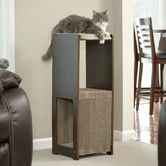 Modern art meets cat-friendly design in the Sauder Woodworking Cat Scratcher High Perch. This cat scratcher enchants your pet and delights your sense of style. It's made of engineered wood in a dark b. Cool Cat Trees, Cool Cats, Sauder Woodworking, Cat Activity, Cat Perch, Cat Scratching Post, Cat Scratcher, Pet Furniture, Office Furniture