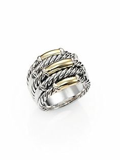 David+Yurman Metro+Cable+Five-Row+Ring+with+Gold