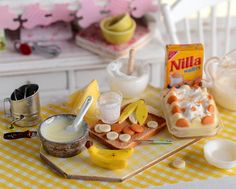 RESERVED-Miniature Banana Pudding Set by CuteinMiniature on Etsy