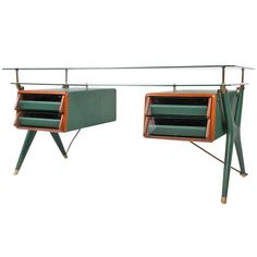 c.1955 MCM Rare Double Drawer Executive Desk, green leather + brass, double glass  by; Silvio Berrone... Italy