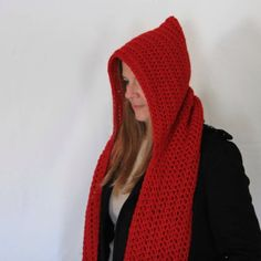 Red hooded scarf, open ends scarf with hood, red scoodie, long hooded scarf, Calypso Long Hooded Scarf, Winter Day, Wool Yarn, Gifts For Women, Cowl, Hoods, Winter Fashion, Pink, Etsy