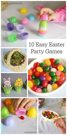 10 Easter party games and activities for all ages including Easter minute-to-win-it games and some classic Easter picnic ideas.  These Spring picnic games are simple and fun for kids and adults alike.  Mostly you just need plastic eggs, jelly beans, and you can do most of these like the jelly bean pickup game, Easter Egg memory game, and free printable Easter Bingo game.