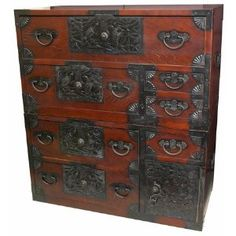 """Asian Furniture & Home Décor - 37"""" Japanese Design Double Stacked Emporer's Tansu Cabinet"""