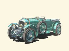 Vintage Cars, Antique Cars, Car Illustration, Illustrations, Car Drawings, Anime Art Girl, Classic Cars, Automobile, Vehicles