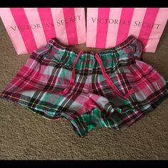 VS Sleep Shorts Super cute flannel sleep shorts with drawstring stretchy waist. No flaws! Victoria's Secret Intimates & Sleepwear Pajamas