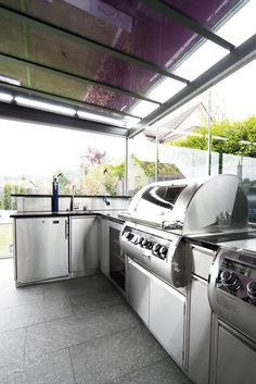 Outdoorkitchen Stone Accent Walls, Bbq, Cooking, Stainless Steel, Barbecue, Barbecue Pit