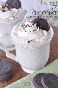 Yum - Thin Mint in liquid form!!! Thin Mints Hot Chocolate - your homebased mom mint hot, chocolates, chocolate cupcakes, hot chocolate, food, thin mints, recip, buttercream frosting, chocolate cakes