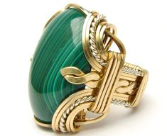 Victorian Wire Wrap Two Tone Sterling Silver/14kt Gold Filled Malachite Ring