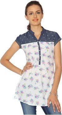 Roposo.com - Latest mandarin-collar casual tunics online identiti casual short sleeve self design womens top