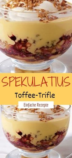 Spekulatius-Toffee-Trifle Ingredients for 8 people 250 g soft caramel candies (e. cream muh-muhs) 200 ml milk 400 g speculoos 500 g whipped cream 600 g double cream cheese 100 g light syrup 1 packet of vanilla sugar 1 tsp cinnamon Oreo Desserts, Pudding Desserts, Healthy Desserts, Easy Desserts, Dessert Recipes, Dinner Healthy, Toffee, Bon Dessert, Dessert Simple