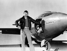 Chuck Yeager and Bell X-1 Supersonic PlaneCredit: United States Air Force ArchiveUSAF Capt. Charles E. Yeager (shown standing with the Bell X-1 supersonic rocket plane) became the first man to fly faster than the speed of sound in level flight on Oct. 14, 1947.