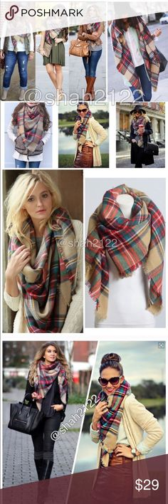 """New tartan blanket plaid scarf wrap shawl checked Brand New without tags. Retail item. Soft, cozy and warm. Tartan Blanket Plaid scarf wrap shawl checked. Very stunning and classic. So many ways to wear it. Material : 100% Acrylic. Measurement : 60""""x 55"""" Boutique Accessories Scarves & Wraps"""