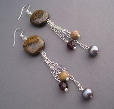 Long Dangle Earrings with Bronzite and Pearls by SeaChellesDesign