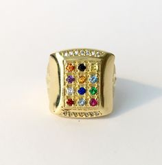 Ephraim Fish - Twelve Tirbes of Israel 18 Karat Gold Layered Ring by HADASSAHjewelry on Etsy