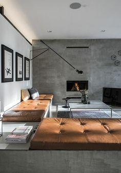 quelle couleur pour un salon, canape en cuir marron foncé, murs en béton ciré