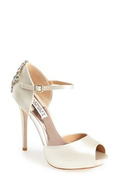 $245 Nordstrom, comes in White. Badgley Mischka 'Gene' Crystal Back Ankle Strap Pump (Women) available at #Nordstrom