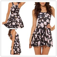 hfashion+o+neck+tank+sleeveless+a+line+pleated+polyester+mini+dress-