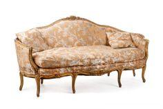 Louis XV Paint & Parcel Gilt Decorated Canape : Lot 838. Estimated $2,000-$4,000