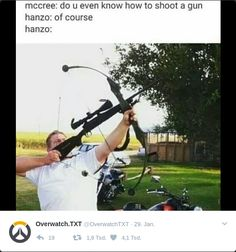 Hanzo can shoot Guns