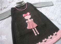 Knitting For Kids, Knitting Yarn, Baby Knitting, Knitting Patterns, Crochet Patterns, Knit Baby Dress, Baby Cardigan, Girls Blouse, 3rd Baby