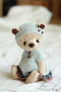 Tiny Teddy Bear in Blue Ours Boyds, Tiny Teddies, Love Bear, Cute Teddy Bears, Bear Doll, Crochet Bear, Little Doll, Felt Animals, Baby Animals
