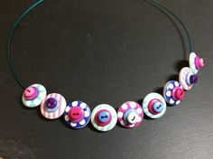 Button Necklace Spots and Stripes Wooden Button Choker Mint Pink Beach Hut £9.50