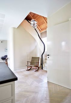 Anders Barlund - Architect's Home - Kitchen - Wood Floor - White Soap - Acoustic Ceiling - Farrow & Ball - Wood Stair - Rocking Chair - Danish - Architecture - Modern - Home - Residential - Renovation Concrete Stairs, Wooden Stairs, Painted Stairs, Foyers, Famous Modern Architects, Danish House, Built In Bathtub, Large Open Kitchens, Beautiful Stairs