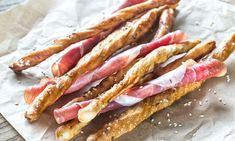 Breadsticks wrapped in jamon by Alexander Prokopenko on I Foods, Food Photography, Bacon, Breakfast, Photos, Morning Coffee, Pictures, Pork Belly