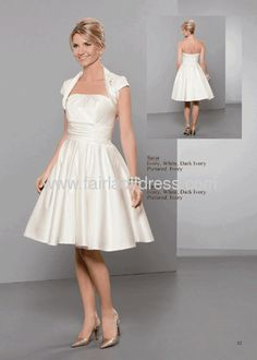 Princess Strapless Knee-length Ruched Draped Ivory Satin Wedding Dress With a Jacket