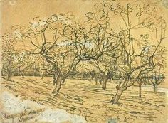 "vincentvangogh-art: "" Orchard with Blossoming Plum Trees (The White Orchard), 1888 Vincent van Gogh """