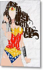 Wonder Woman Inspirational Power And Strength Through Words Metal Print by Marvin Blaine