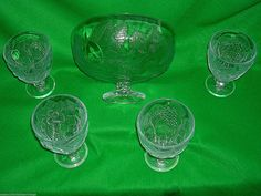 Four Vintage Retro Pressed Glass Sundae Glasses & Matching Footed Trifle Bowl | eBay