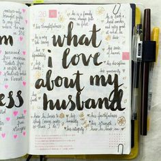 Ultimate List of Bullet Journal Ideas: 101 Inspiring Concepts to Try Today (Part Simple Life of a Lady : Keep your mind focused on how much you like your husband by focusing on every good thing about him. Find more bullet journal ideas in this post. Bullet Journal Writing, Bullet Journal Inspo, Bullet Journal Birthday Tracker, Journal Prompts, Journal Pages, Journals, Writing Prompts, Bujo, Love Journal