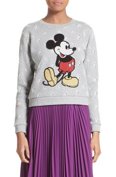 New MARC JACOBS Embellished Mickey Shrunken Sweatshirt GREEN DUNE fashion online. [$550] new offer from topshoppingonline<<