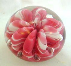 Beautiful WORK OF ART Glass PAPERWEIGHT FLOWER Signed JOE ST. CLAIR Artist