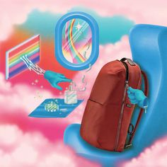 """Robert Beatty's campaign for Away depicts the """"sci-fi-like experience of travel amid a pandemic"""" Cat Ears, In Ear Headphones, Bucket Bag, Nature, Muse, Weird, Bags, Travel Products, Illustrations"""