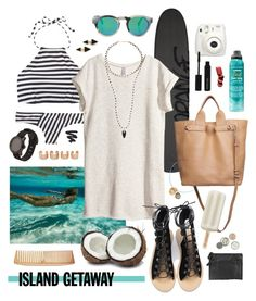 """Chic Island Getaway"" by doxophobia ❤ liked on Polyvore featuring Illesteva, J.Crew, H&M, Pippa Small, 3.1 Phillip Lim, Vita Fede, Bumble and bumble, Fujifilm, Nixon and Isabel Marant"