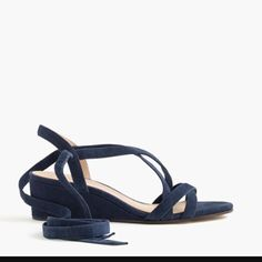 J Crew Suede Ankle Wrap Mini Wedge