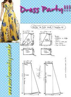 Mod@ En Line Dress Party patternTaka góra + dół do kolan (np z koła)easy modeling do.Shorter would be better?The best DIY projects & DIY ideas and tutorials: sewing, paper craft, DIY. Dress Sewing Patterns, Sewing Patterns Free, Free Sewing, Clothing Patterns, Sewing Hacks, Sewing Tutorials, Sewing Crafts, Sewing Projects, Pattern Cutting