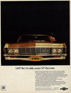 Youre looking at an original vintage magazine advertisement for the Chevrolet Impala, rescued from the January 1967 issue of Look Magazine. Chevrolet Impala 1967, Chevy Impala, Chevrolet Caprice, Tame Impala, Chevy Classic, Classic Cars, Classic Auto, Vintage Advertisements, Vintage Ads