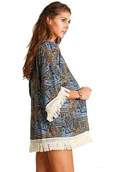 d7f73517 Umgee Women's 3/4 Sleeve Tribal Print Kimono Fringe Cardigans Tops Blouse  A2360 at Amazon Women's Clothing store: