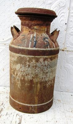 Old Rusty Metal Milk Can
