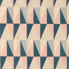 Bomuld ubleget/rosa/blå trekanter