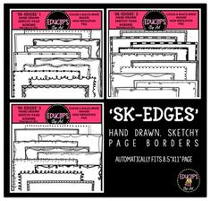 "This is a collection of hand drawn, sketchy page frames. The frames are 8.5""x11"" and should fit automatically onto the page when used in a program such as PowerPoint or similar programs. Frames can be adjusted and resized to fit snugly against the edge of the page."