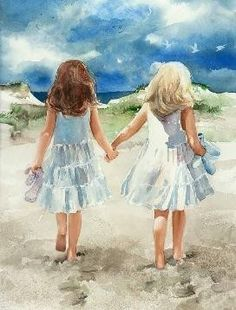 "judith stein watercolors | In the painting, ""Beach Promenade"" a template was used to create the ..."