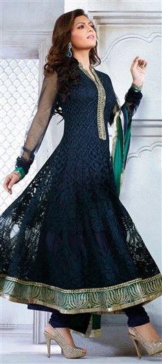 Anarkali Suits, Bollywood Salwar Kameez, Net, Resham, Blue Color Family: