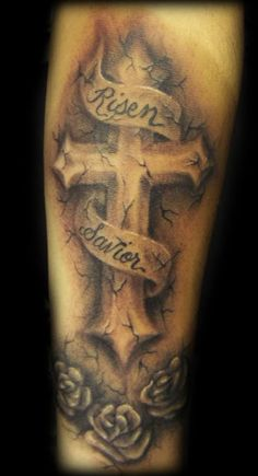 3D Stone Cross And Grey Rose Tattoos