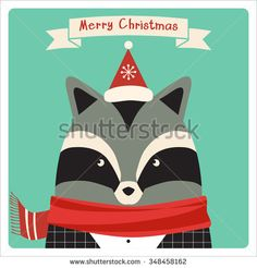 Christmas card with cute hipster raccoon. - stock vector