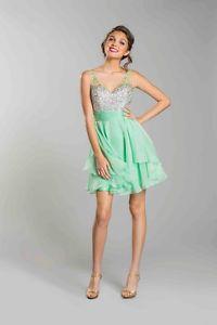 Sleeveless Sheer Rhinestones Mini Skirt Layers Waist Prom Dress Above The Knee | eBay